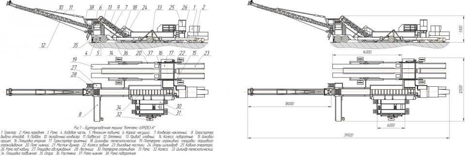 Схематическое изображение буртоукладчика «Комплекс 65М2Б3-К»