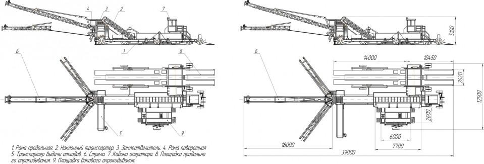 Схематическое изображение буртоукладчика «Комплекс 65Э2Б3-К»